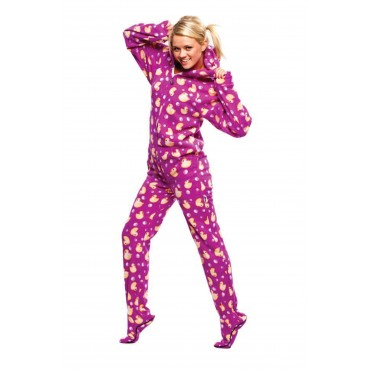 Purple Ducks Footed Pajamas - Adult onesie