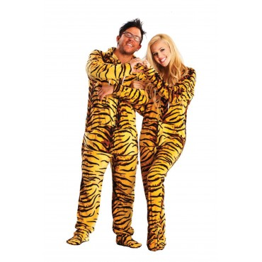 Tiger Skin Adult Footed onesie Pajamas