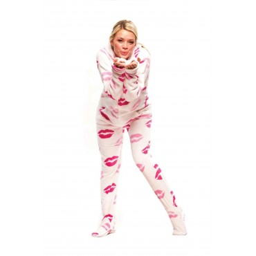 Soft Kisses Adult Footed onesie Pajamas