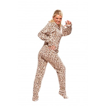 Moca Cheetah Adult Footed onesie Pajamas