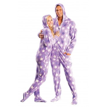 Purple Haze Hooded Adult Footed Pajamas