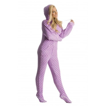 Purple Polka Dots Hooded Adult onesie
