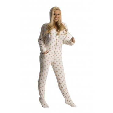 Gold Stars Hooded Footed Pajamas