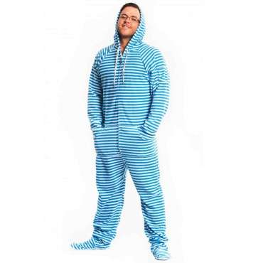 'Blue Striped Adult Footed Pajama onesie  **SUPER SALE ITEM **