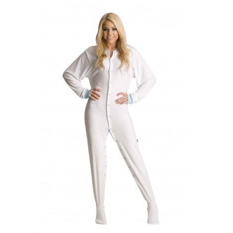 White Terry Cloth Adult Footed Pajamas
