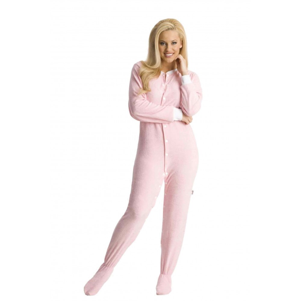 Baby Pink Terry Cloth Adult Footed onesie Pajamas