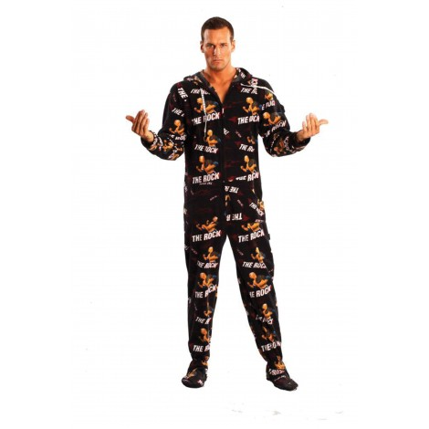 'WWE The Rock Adult Footed Pajamas -- SUPER SALE ITEM