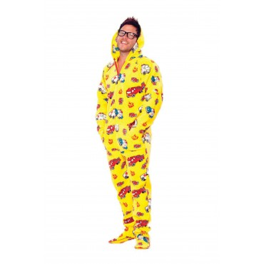 'Yellow Fire Trucks Adult Hooded Pajamas ** SUPER SALE ITEM **