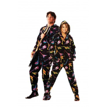 Electric Guitar printed Adult Footed Pajama onesie