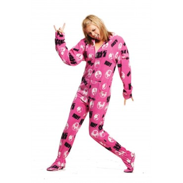 KISS Strutter Pink Hooded Adult Pajamas
