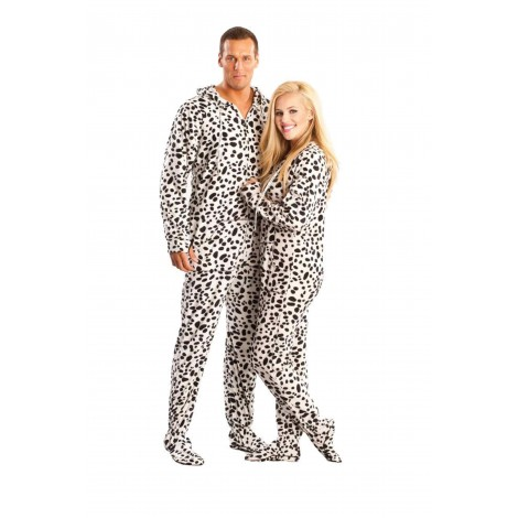 'White Dalmatians Adult Footed onesie Pajamas **SUPER SALE ITEM **