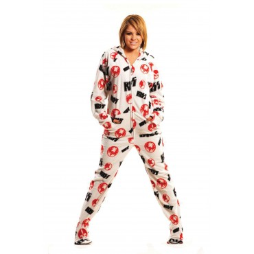 'KISS Strutter White Hooded Adult onesie Pajamas ** SUPER SALE ITEM **