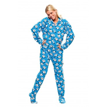 'Blue Pandas Adult Footed onesie Pajamas **SUPER SALE CLEARANCE ITEM **