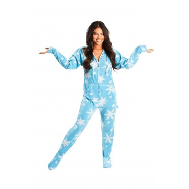 Blue Frosty Snow Flakes Adult Footed onesie Pajamas