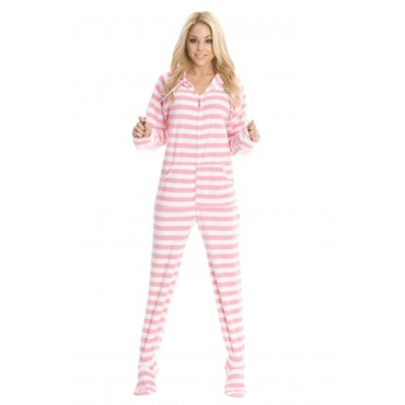 Soft Pink Striped Adult Footed onesie Pajamas